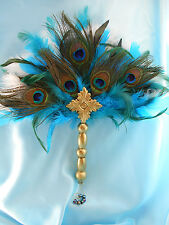 Peacock Feather Bridal Bouquet Tudor Renaissance Victorian Elizabeth Wedding FAN
