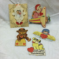 5 Vintage Valentine's Day Cards Airplane Moving Eyes Moving Leg Dog Used