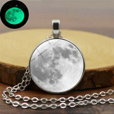 Necklace Lady Glow In The Dark Moon Necklace Galaxy Planet Cabochon Silver Chain