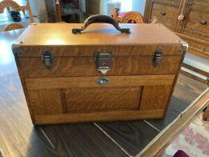 GERSTNER Vintage Original Oak Machinist Chest Tool Box 7 Drawers 1900s