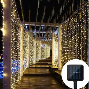 LED Solar Fairy String Net Mesh Curtain Lights Outdoor Garden Christmas Party UK