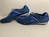 Coach Jenney Blue Mesh Shoes Suede Leather Hook&Loop Q1036 Women's Size 8.5 M