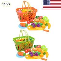 Fruit Vegetable Food Cutting Set Kids Role Play Pretend Cook Chef Kitchen Toys