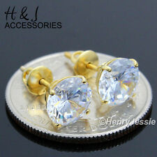 Diamond Screw Back Gold Stud Earring*E88 925 Sterling Silver 8Mm Clear Round Lab