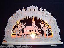3D Arc à lumière à bougies Paysage d'HIVER avec église 57 cm 7 bougies 10005