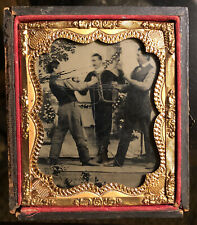 1/6 Sixth Plate Full Case Tintype Photo 2 Barr Knuckle Boxers Action Shot