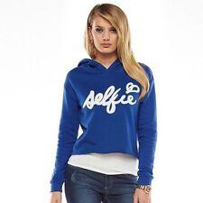 Juicy Couture Women's Blue Pullover SELFIE Surf Crop Lightweight Hoodie L-CL458