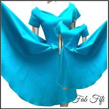 Rockabilly Diva Catwalk Swing Dress Blue Stretch Turquoise Bardot 50's classic M