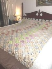 Nice Tan Cotton Bow Tie Cotton Quilt Hand stitched