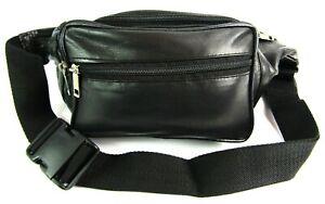 Black Super Soft Leather Bum Bag Money Belt Travel Festival Holiday Waist Bag