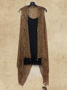 One size Boho Leopard Print Vest with Tassels - One Size