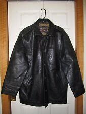MARC Brand LEATHER Parka/Jacket Quilted Lining Men's-M/M Heavy Black Leather
