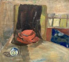 Interieur Stillleben Raum mit roter Tasse Küche Anonym 45 x 50 cm Ölbild