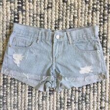 COTTON ON Women's Size 6 Light Blue & White Striped Cut Off Frayed Denim Shorts