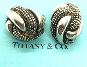 """Vintage Tiffany & Co. Sterling Silver 14 K Gold Stud Earrings. 1"""". Heavy 26.1gm."""