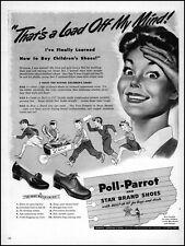 1943 Poll-Parrot Shoes kids gathering scrap for WW2 vintage art print ad adL27