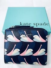 Kate Spade Women Small L-zip Bifold Wallet Cameron Gold Birds Multi With Box