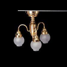 1:12 casa de munecas de laton arana 3 brazo de la lampara de techo del LED N5T3