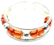 Bague de Pied Orteil Bijoux Argenté Métal Anneau Réglable perles orange