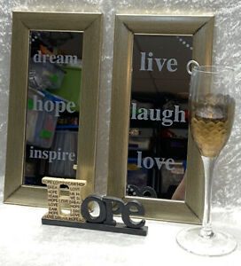 Home Decor Set of Mirrors Hope Wood 2012 B Lloyd  Gold Wine glass with candle
