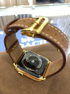 Brown Leather Band 44mm 24k Gold Plated Deplo Buckle Fits Any Series Apple Watch