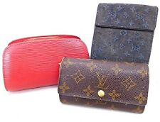 Authentic LOUIS VUITTON monogram mini lin Wallet Red Epi Cosmetic Pouch 3P Set