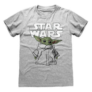 OFFICIAL STAR WARS THE MANDALORIAN BABY YODA PRINT GREY T-SHIRT