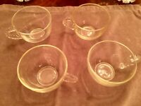 Vintage Anchor Hocking Glass Company Clear Glass Punch Bowl Cups - Set of 4