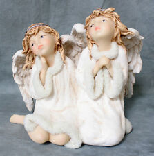 Winter Angels Kneeling & Sitting Christmas Holiday Statue Angelic Figurine