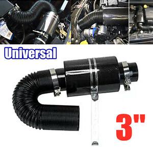 "3"" Filter Box Carbon Fiber Car Truck Induction Ram Cold Air Intake System+Hose"