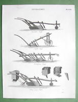 AGRICULTURE Farming Husbandry Types of Plows - 1816 Original Antique Print