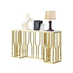 CONSOLE HALL TABLE SIDE TABLE STAINLESS STEEL GOLD BASE WHITE MARBLE TOP NEW