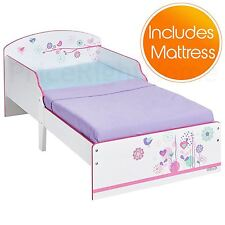 FLOWERS AND BIRDS JUNIOR TODDLER BED EASY TO ASSEMLE & FULLY SPRUNG MATTRESS