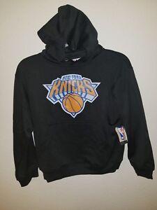 Majestic NBA Youth NY New York Knicks Team Logo Poly Hoodie Black Medium 10-12
