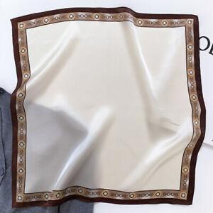 100% Silk Scarf Bandana Women Fashion Solid Color Kerchief Neck Hairband 53*53cm