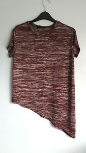 Gorgeous Dark Red Marl Short Sleeve Asymmetric Top by New Look - Size 8 - BNWOT!