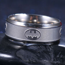 Batman Logo Stainless Steel Titanium Band Ring Silver Wedding Engagement Size 12