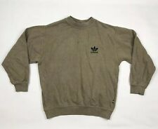 Vintage Adidas Sweatshirt OG Trefoil Olive Green Brown Made In UK Sz 34/36