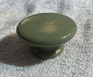 "2"" Dia. 70's MCM Sage Green Porcelain Ceramic Cabinet Knob Drawer Pull Hardware"