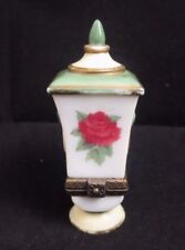"""Midwest of Cannon Falls Rare Vase/Urn Trinket Box """"Rose Love & Beauty"""" Green/Wht"""