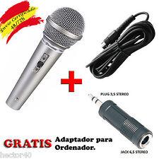 MICROFONO PARA PC Y KARAOKE MICRO DINAMICO CON CABLE DJ VOZ CANTAR ORDENADOR