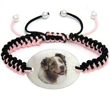 Australian Shepherd Dog Aussie Natural Mother Of Pearl Knot Bracelet Chain BS196