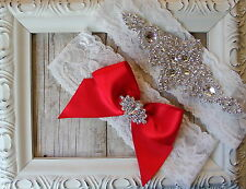Wedding Garter, Bridal Garter, Ivory Lace Garter, Handmade, Crystal Garter