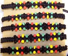 2 BEAD RASTA BRACELET regae novelty bracelets beads reagae colored beaded BULK