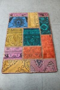Handmade Patchwork Rug Small Vintage  Carpet  85 x 58 cm - 1.90 x 2.78  ft