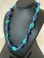 CHUNKY Native American Navajo Sterling Silver Lapis Turquoise Necklace 21in 256