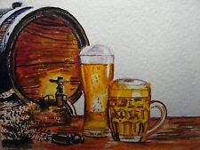 Watercolor Painting Beer Glass Wooden Barrel Alcohol Drink ACEO Art .