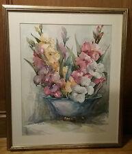 Lillian Grow Rockport Listed Watercolor Artist Signed Lg Gladiolas Vase Framed