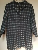 Connie Roberson Women's Linen Gray Check 3/4 Sleeve Top Sz Large Made In USA