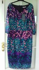 Ladies M&S Per Una  Purple/Mix 3/4 Sleeve Lined Dress. Size 18 New with tags